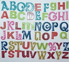 DCWV - 52 CHRISTMAS Chipboard Fanct Letter Shapes Glittered 30 - 50mm NEW
