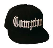 Compton Flat Bill Snapback Black Adjustable Baseball Cap