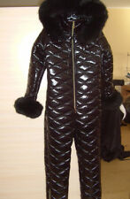 Ski Suit Womens Mens Snow Overall Jumpsuit Nylon One Piece Outwear Outfit Black