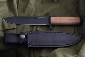 "Russian hunting knife ""SAMSONOV"" Black with sheath Super steel AUS-8 kizlyar"