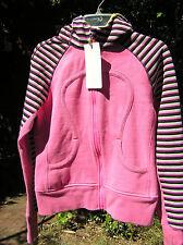 Lululemon 8 Scuba Hoodie Cozy Stripe Afterglo Hot Pink Blue Yellow EUC! HTF!