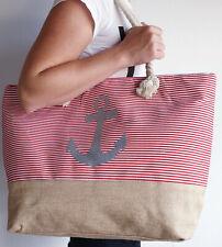 Grosse Badetasche Strandtasche Tragetasche Handtuchtasche Saunatasche Blau Rot