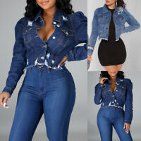 Women's Casual Coat Ripped Denim Jacket Ladies Jeans Buttons Outwear Crop Top