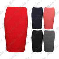Ladies Women's Plus Size Elasticated Waist Stretchy Bodycon Pencil Skirt 16-26