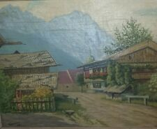 Fruhmann 1948 Oil on Panel Original Painting Bravaria German Alpine Town.