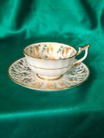 Royal Chelsea England Bone China Tea Cup And Saucer Blue Flowers Gold Leaves