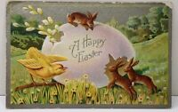 Happy Easter Rabbits Chick Broken Egg 1900s Postcard A2