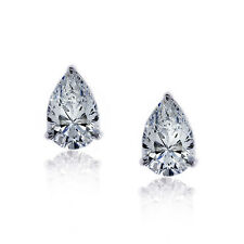 2.00CT PEAR CUT SOLITAIRE DIAMOND EARRING 925 STERLING SILVER PEAR STUD EARRING