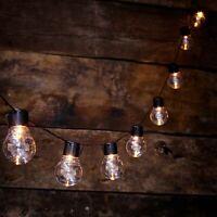 10 LED Solar Powered Outdoor Retro Bulb String Festoon Light Garden Summer Lamp