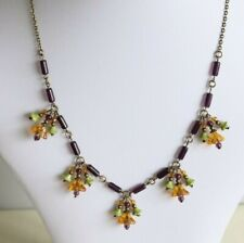 Amber/Purple/Green Glass Bell Flower Necklace Vintage Czech Art Deco Style