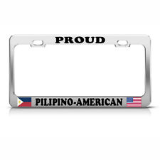 FILIPINO PHILIPPINES AMERICAN FLAGS Heavy Duty Metal License Plate Frame Tag Bor