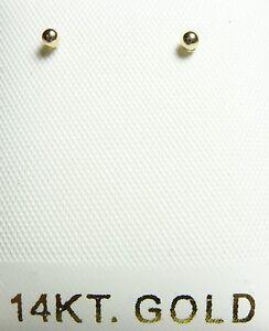 14KT White Gold 2MM Ball Push back Earrings w/Gift Box-Guaranteed- FREE SHIPPING