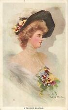 """1907 Lovely Woman/Girl - Philip Boileau """"A Passing Shadow"""" Art Postcard"""