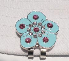 Blue Flower Golf Ball Marker with  Crystals & Magnetic Hat-Visor Clip