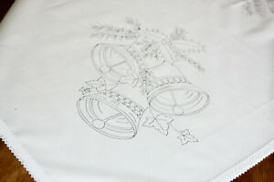 Tablecloth print to embroider Christmas Bells with Ivy CSO122
