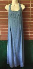 Ny Jeans Womens Denim Dress Blue Halter Maxi Sz 10 Lerner's Ny & Co Vintage 90's
