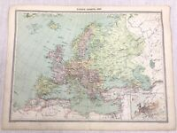1909 Antique Map of Europe Old European Empire Population Graph George Philip