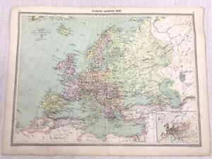 1909 Antique Map of Europe Old European Empire Population Graph George Philip