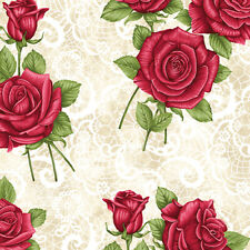 Festive Lace Roses Rose Fabric 100% Quilters Cotton Floral Flowers