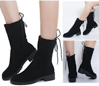 Womens Low Flat Heels Half Boots Winter Warm Lace Up Ladies Casual Stretch Shoes