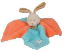 Doudou Peluche Baby'nat plat lapin rabbit bunny lièvre Bubble Gum bleu orange 9