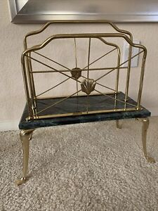 Vintage MCM Hollywood Regency Brass and Marble Magazine Rack Stand *RARE*