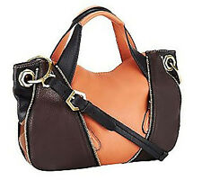 orYANY Pebble Leather Lian Satchel w/ Convertible Strap Saddle Color