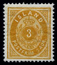 Iceland 1882 3 Aur SC# 15, Wmk 112(Crown) Perf 14*13 1/2 Mint OG Hinge