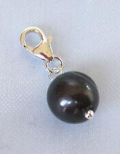 925 sterling silver black PEARL bead clip on charm, June Birthstone