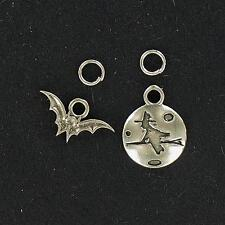 Sterling Silver  WITCH & BAT  CHARMS  Charm