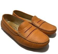 TOD'S ORANGE LEATHER LOAFERS, 37, $525