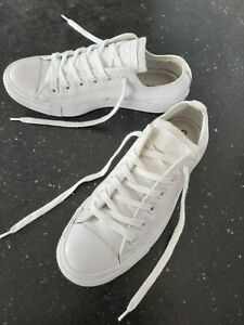 """GENUINE CONVERSE ALL STAR WHITE LEATHER Trainers Size 6 UK """"EXCELLENT CONDITION"""""""