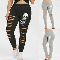 Fashion Women High Waist Plus Size Yoga Sport Pants Shredding Skulls Leggings US