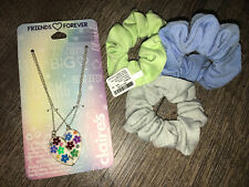 Claire's Floral Heart Best Friend Bff Necklace Jewelry Scrunchi Hair Lot Nwt