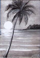 ACEO palm tree ocean seascape black white tropical beach original painting MOTYL