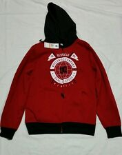 DC SHOE CO HOODED RED  SWEATSHIRT JACKET  SKATE SNOWBOARD SHERPA  LINED  SMALL