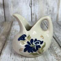 Vintage Cash Family Miniature Creamer Pitcher Blue Ridge Pottery Blue Floral