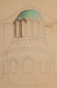 Vintage pencil drawing church signed