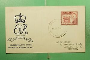 DR WHO 1953 FIJI FDC ROYAL VISIT QEII CACHET NASSAU  g14542