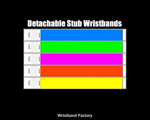 100 x Detachable Stub Tyvek Wristbands For Disco Pool Party Security Rave Sport