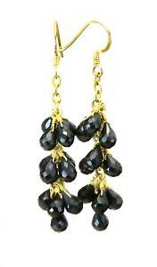 14k Solid Gold Black Spinel Earrings Cluster Style Briolette Long Dangles Drops