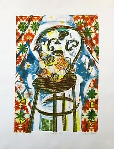 """AMANDA WATT """"THE BROWN CHAIR"""" 1998   UNIQUE MIXED MEDIA ON PAPER   LARGE 50X37"""""""