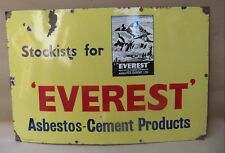 Vtg.advertising porcelain enamel outdoor sign Everest Asbestos-Cement Products