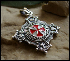 21 GRAMS STERLING SILVER 925 KNIGHTS TEMPLAR PENDANT CROIX NECKLACE MASONIC  W11