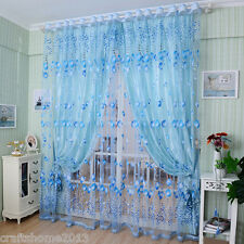 Voile Window Curtain Floral US Blackout Tulle Living Room Drape Panel Romantic
