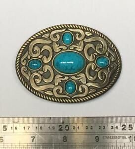 Oval Turquoise, Style Finish Belt Buckle Cowboy Western Biker Celtic