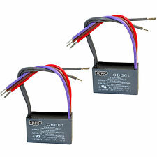 2-Pack Capacitor for Harbor Breeze Ceiling Fan 2.5uf+3.5uf+4uf 5-Wire CBB61