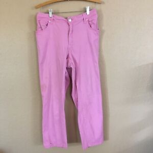 Crown & Ivy Curvy Womens 20W Pink Jeans Stretch Classic 5 Pocket Belt Loops
