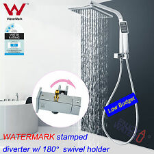 2 in 1 Square 8'' Rainfall Shower Head Handheld Diverter Gooseneck Wall Arm Set