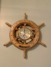 "Vintage Brass And Wood Clock ""Ship's Time� Walnut Wheel 19�"